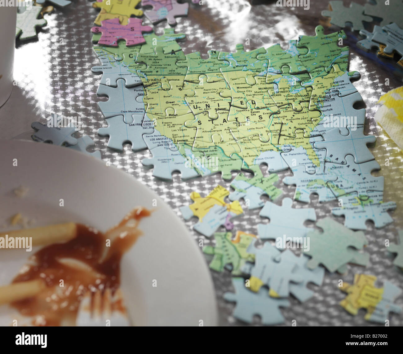 Map Of America Jigsaw.Jigsaw Map Of North America With Junk Food Stock Photo 18593346 Alamy