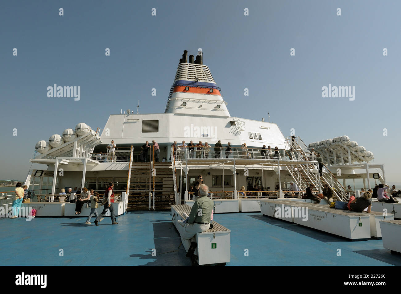 People on deck on board a cross channel ferry - Stock Image