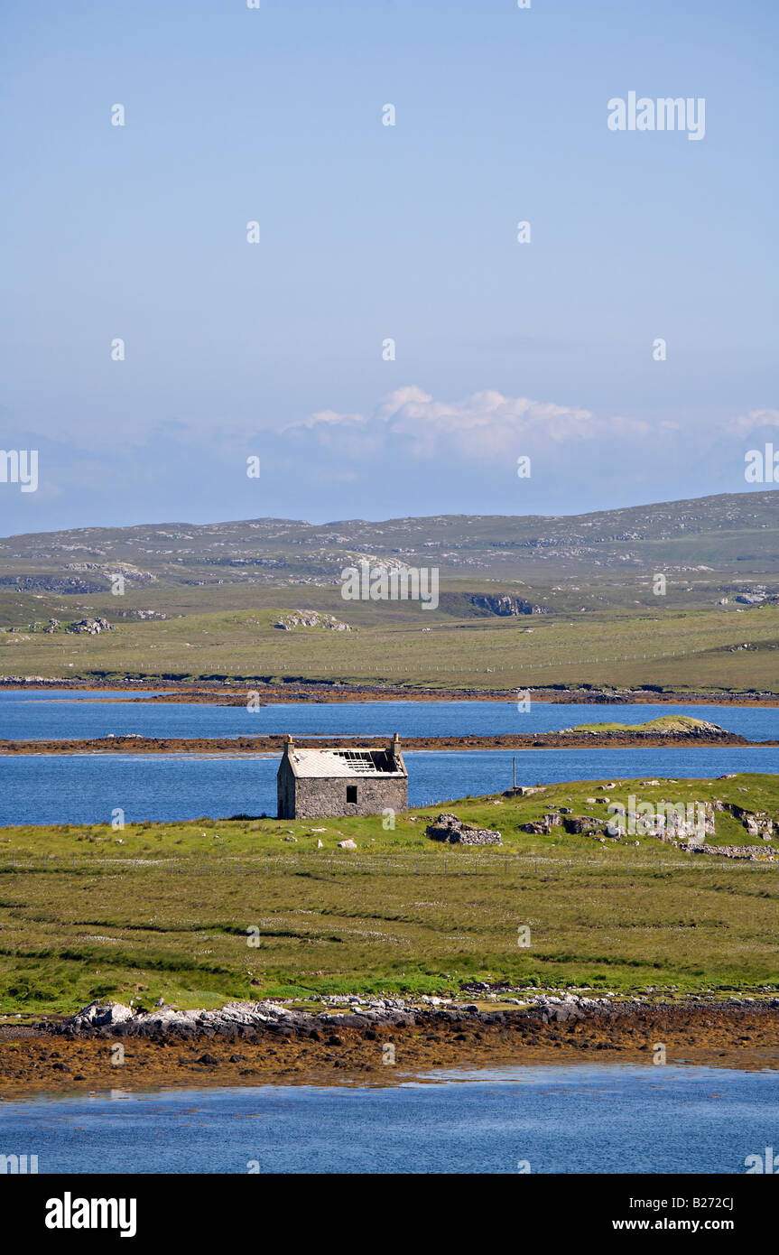 Abandoned and ruined farm building or Shieling on the Isle of Lewis Stock Photo