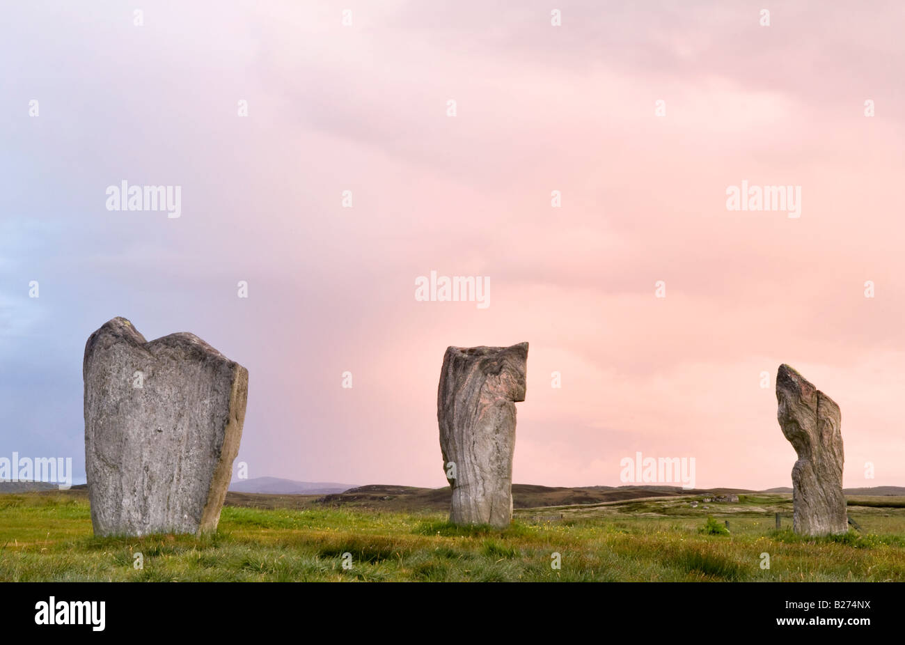 Callanish Standing Stones at dawn, Isle of Lewis, Hebrides, Scotland, UK - Stock Image