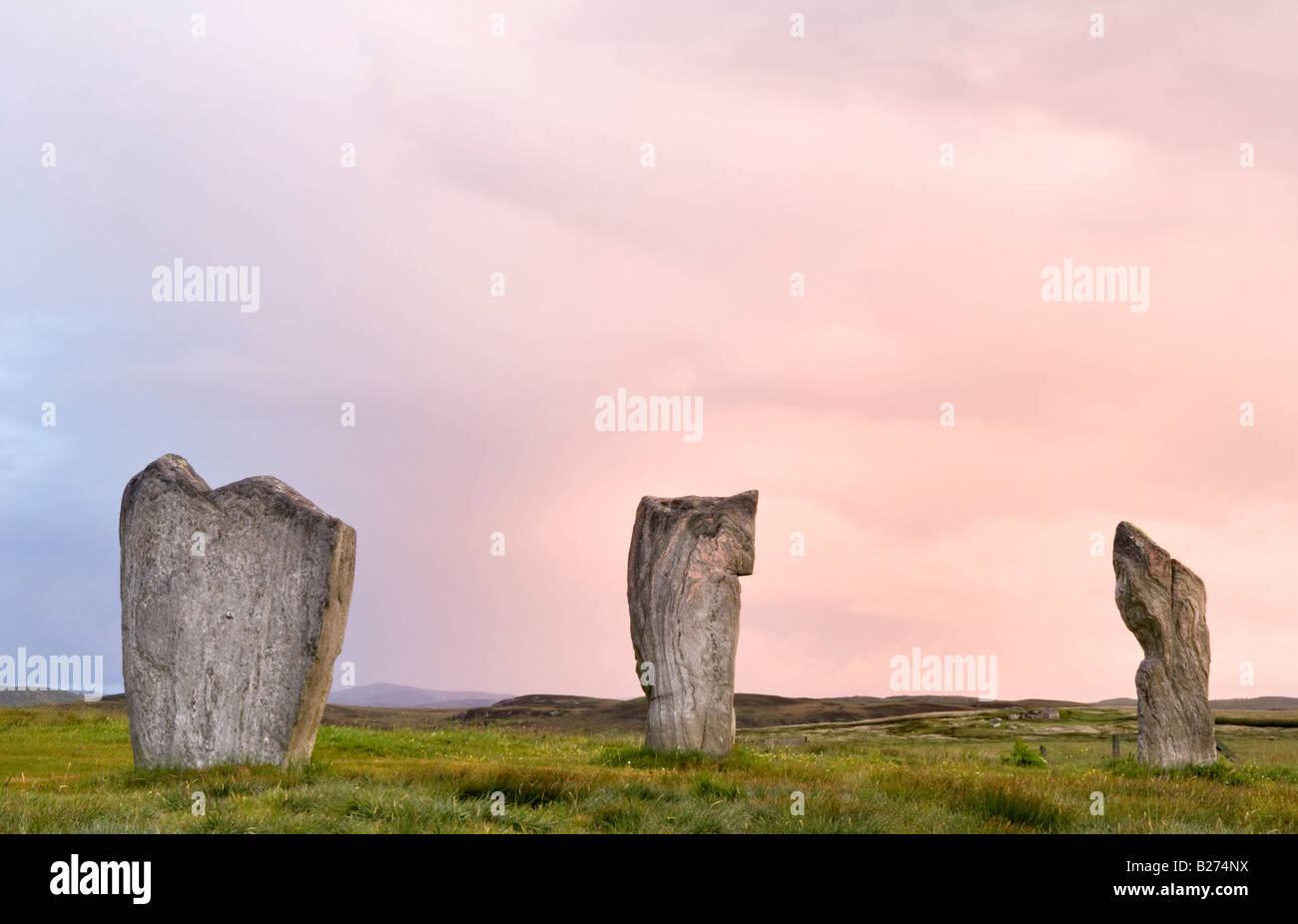 Callanish Standing Stones at dawn, Isle of Lewis, Hebrides, Scotland, UK Stock Photo