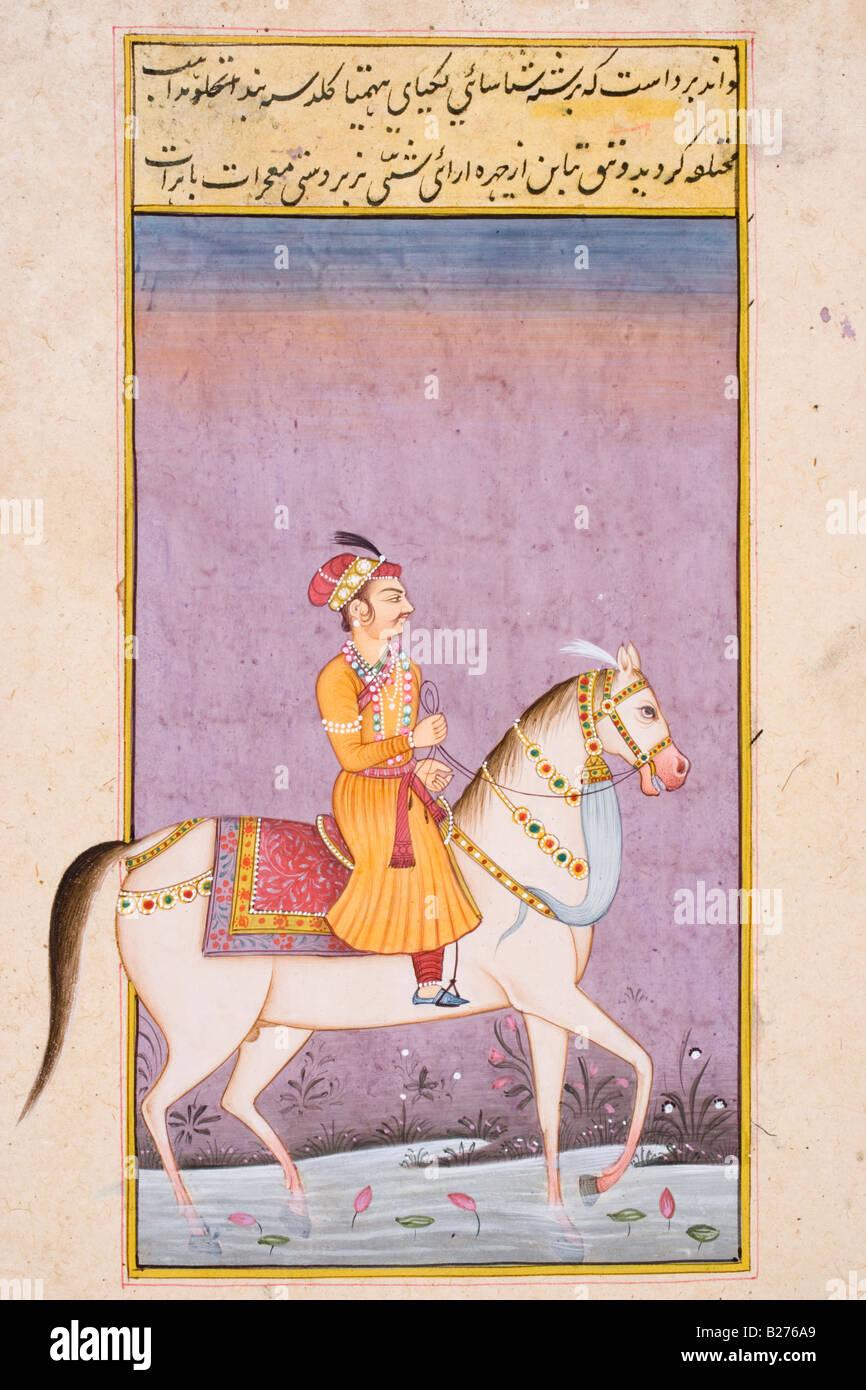 Man in turban riding white horse walking through water.  Rajasthani miniature painting. Stock Photo