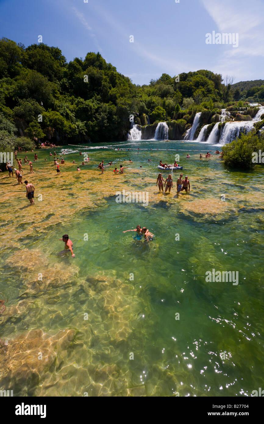 Krka waterfalls, Skradinski buk lower falls, Croatia, Europe, bathing is allowed in restricted area Stock Photo