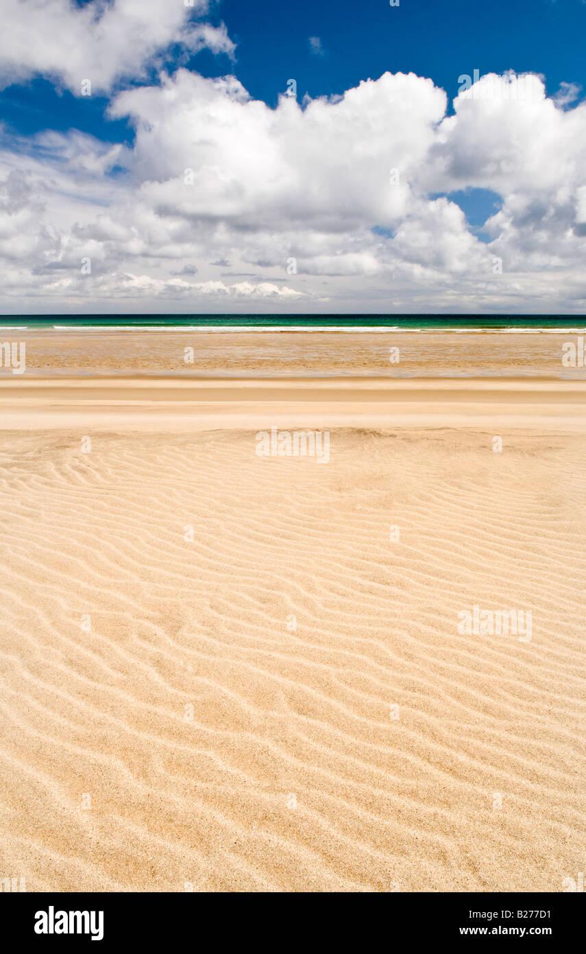 Sand patterns on Garry beach, Isle of Lewis, Hebrides, Scotland, UK Stock Photo