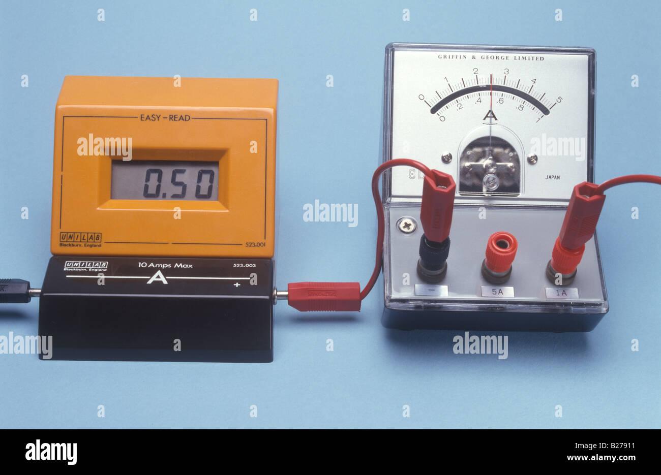 digital & analogue ammeters both reading 0.5 amp - Stock Image