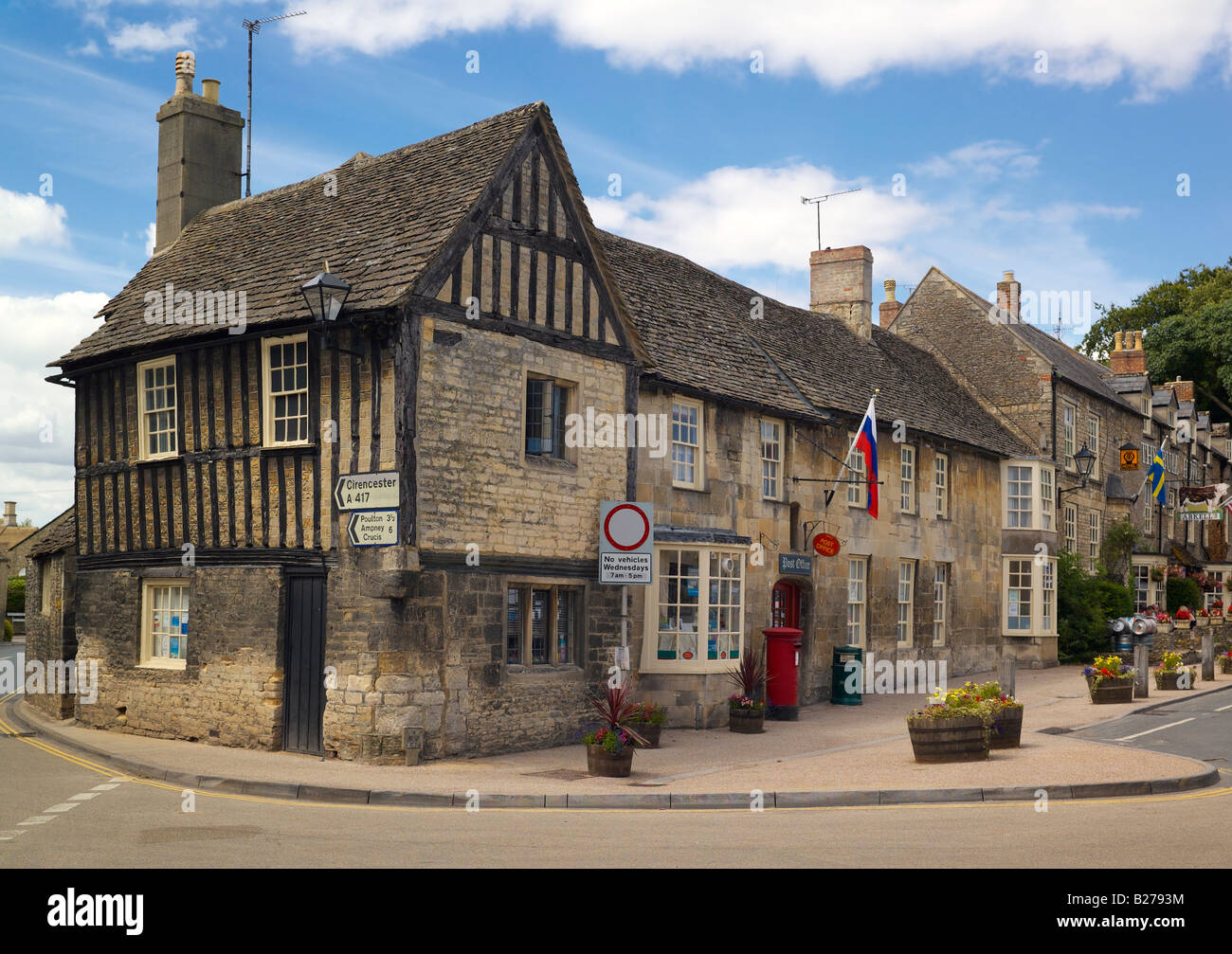The Post office at the Chanting House Market Square Fairford in the Cotswolds - Stock Image