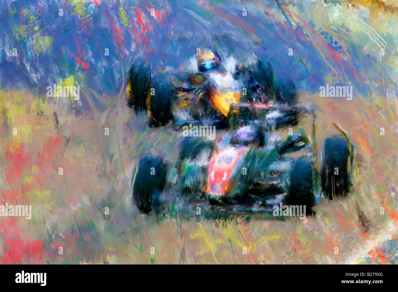 Abstract style painting of Race Cars at Macau Grand Prix - Stock Image