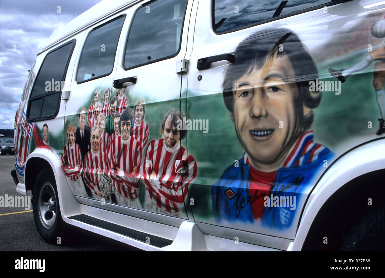 Customised Stoke City Supporters Painted Van At The Britannia Stadium - Stock Image