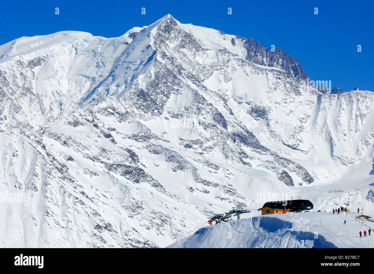 Skiing area Saint Gervais at the foot of the Mont Blanc massif St Gervais Haute Savoie France - Stock Image