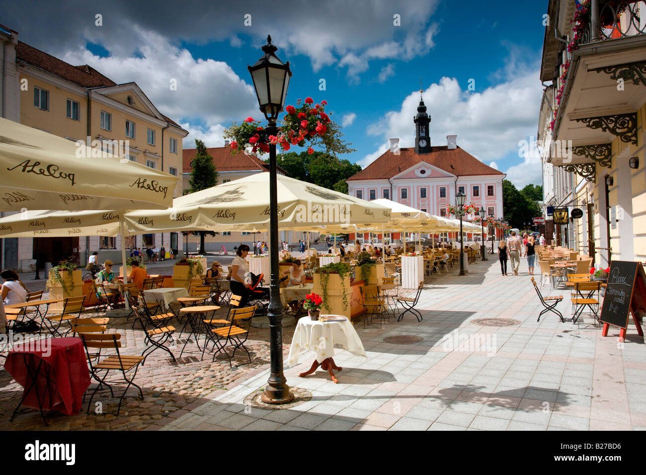 c89381513ae Estonia: Tartu Town Hall Square: Outdoors Restaurant Stock Photo ...