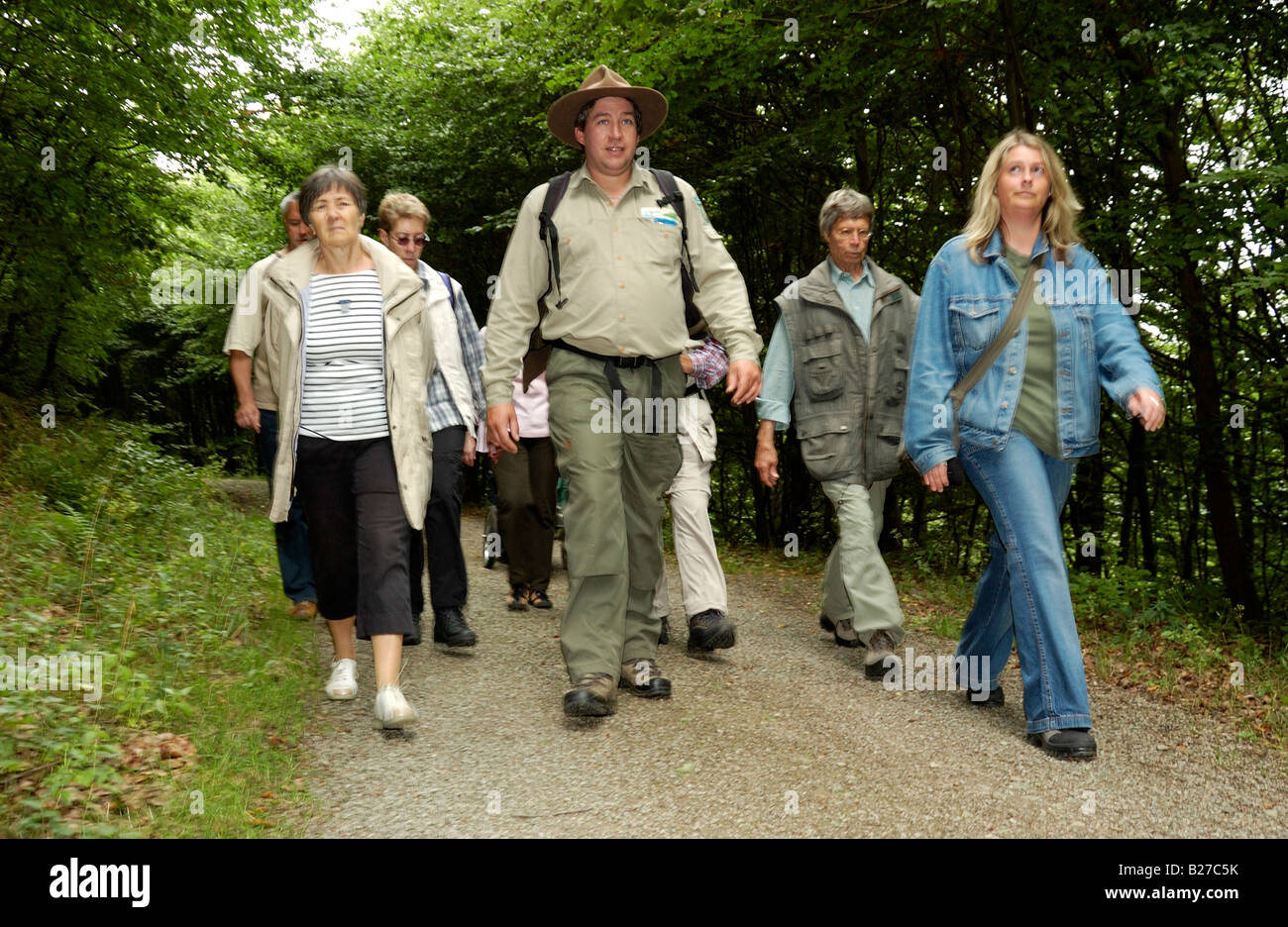 ranger with hiking group on a guided trip across National Park nature reserve Eifel, North Rhine Westphalia, Germany - Stock Image