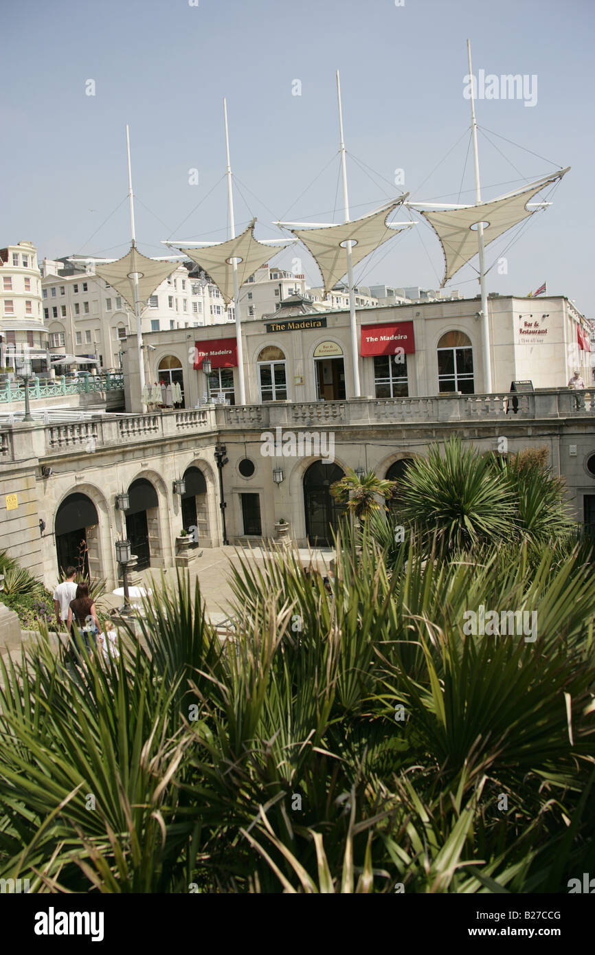City of Brighton and Hove, England. Sea Life Centre on Brighton seafront with the Madeira Resturant and Bar in the - Stock Image