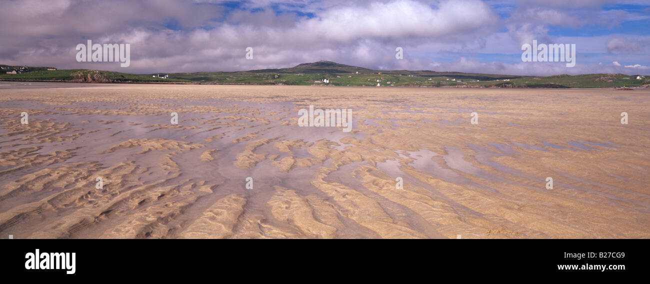 Panoramic view of sand ripples at Uig Sands, Isle of Lewis, Hebrides, Scotland, UK - Stock Image