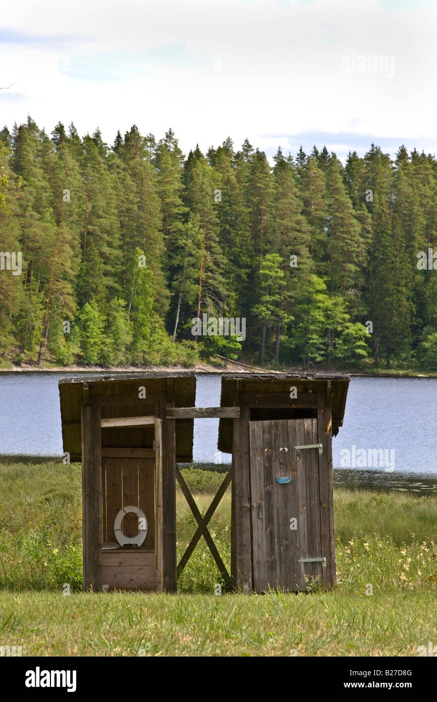 Outdoor privy Stock Photo