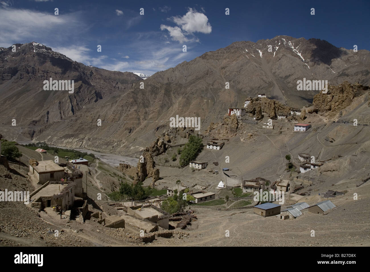 View of Dhankar village (3890m) and monastery. Spiti valley, Himachal Pradesh. India, Asia. - Stock Image