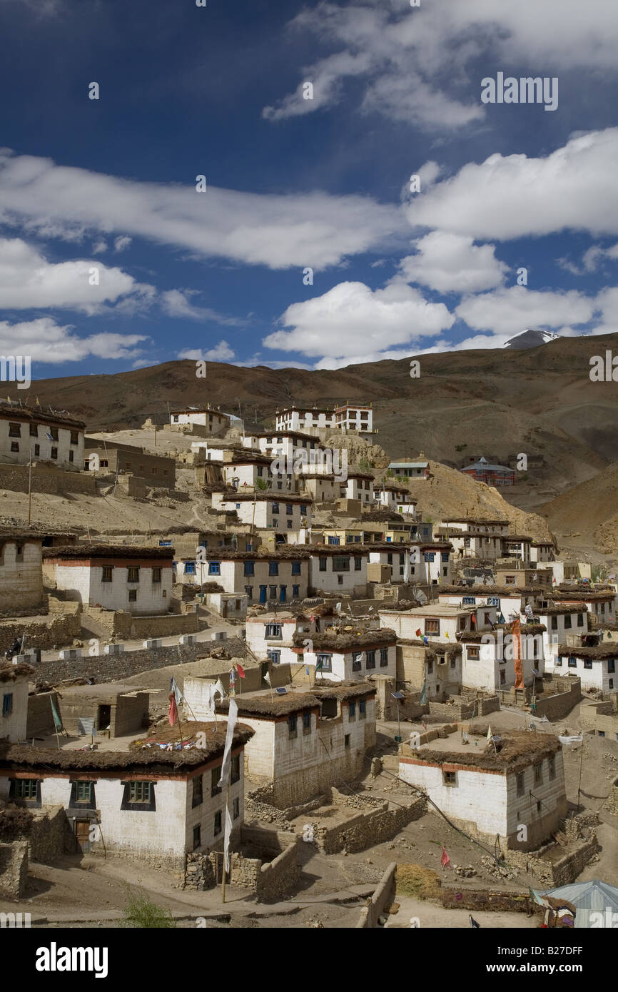 View of the village of Kibber / Khyipur (4205m) in the district of Lahaul and Spiti in Himachal Pradesh. India. - Stock Image