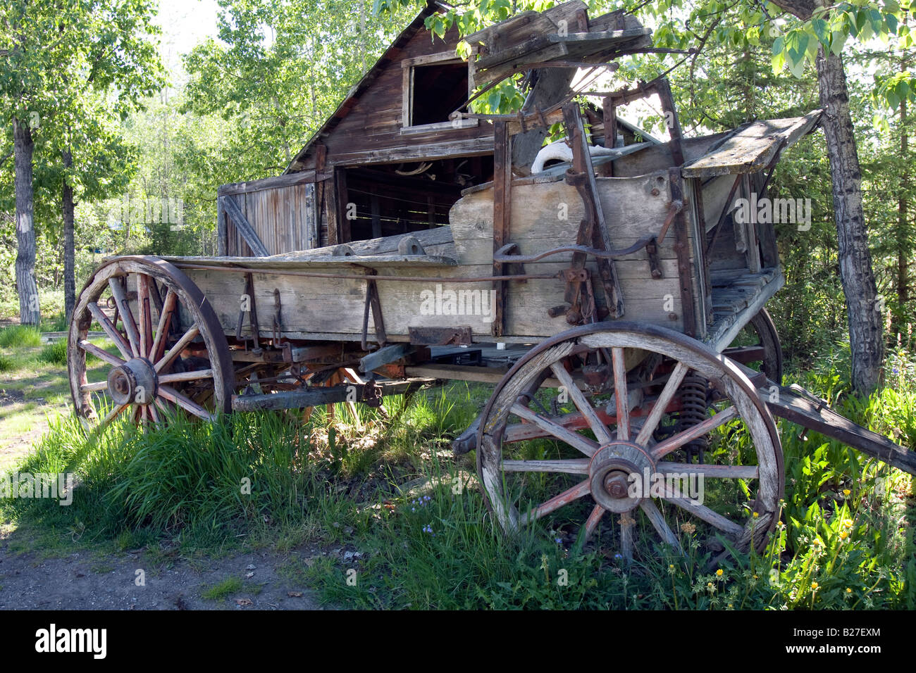 Old wagon in McCarthy, Alaska. - Stock Image