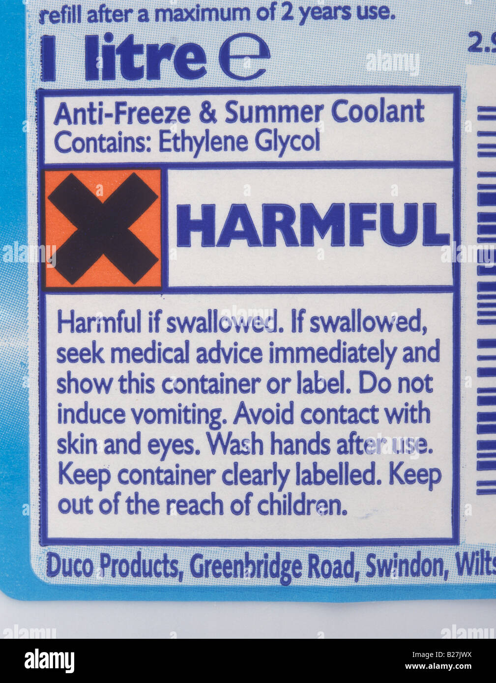 Warning Label On Bottle Of Antifreeze Stock Photo