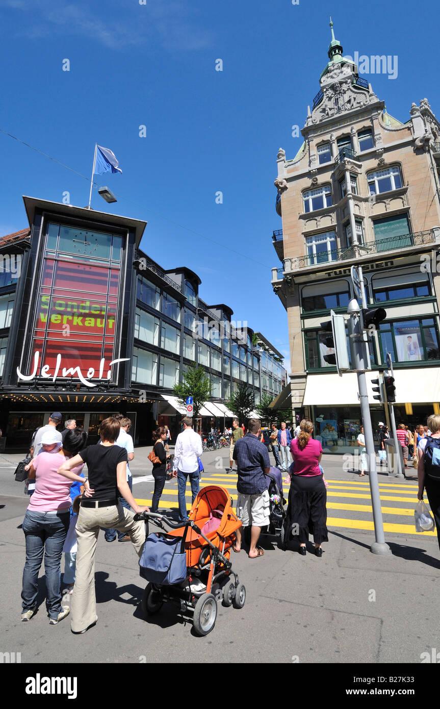 Shopping Area, Bahnhofstrasse, Zürich, Switzerland - Stock Image