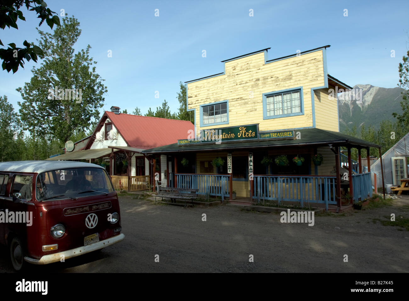Saloon, bar and restaurant in McCarthyr, Alaska. - Stock Image