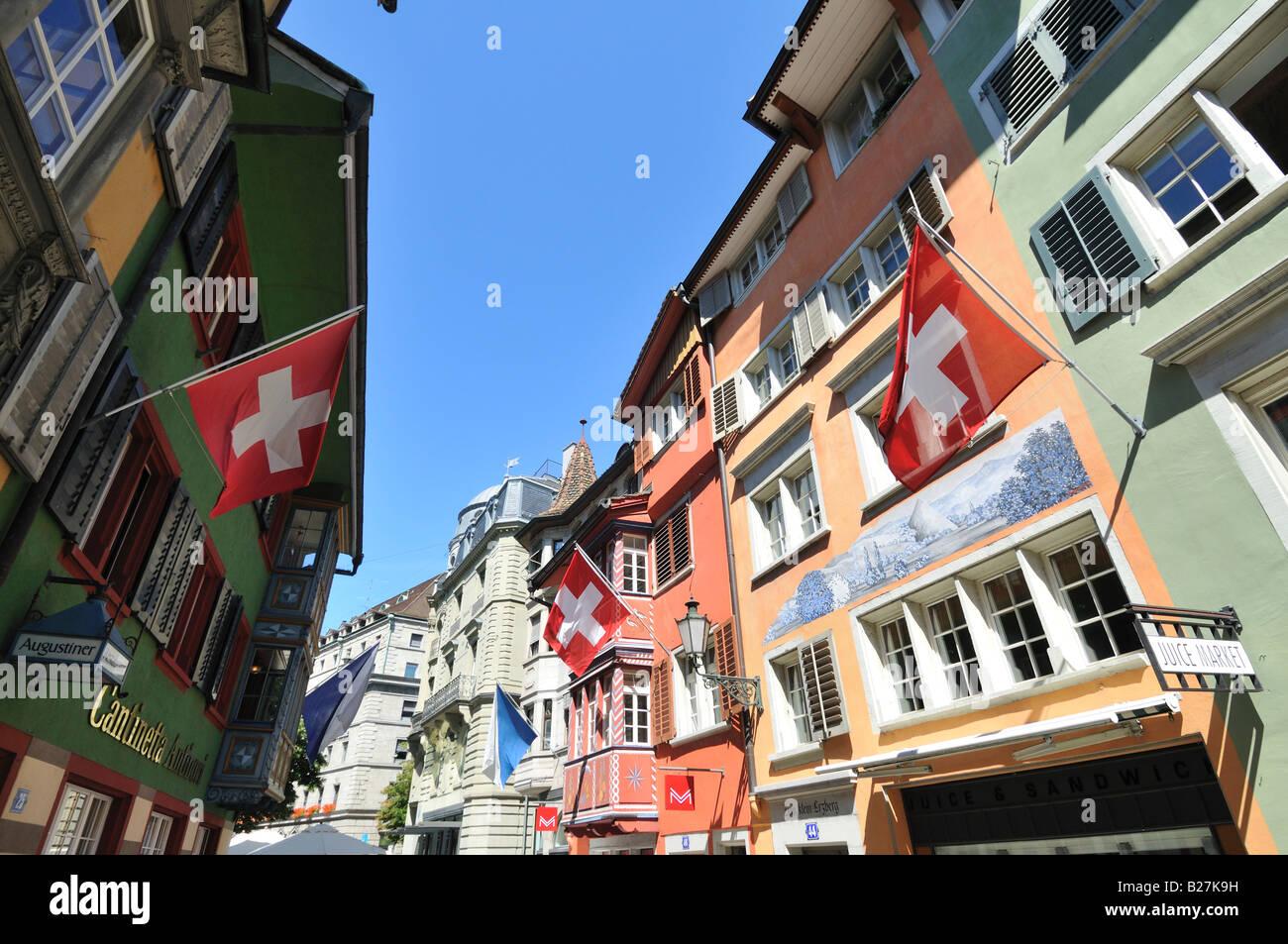 Augustiner Gasse, Zürich, Switzerland - Stock Image