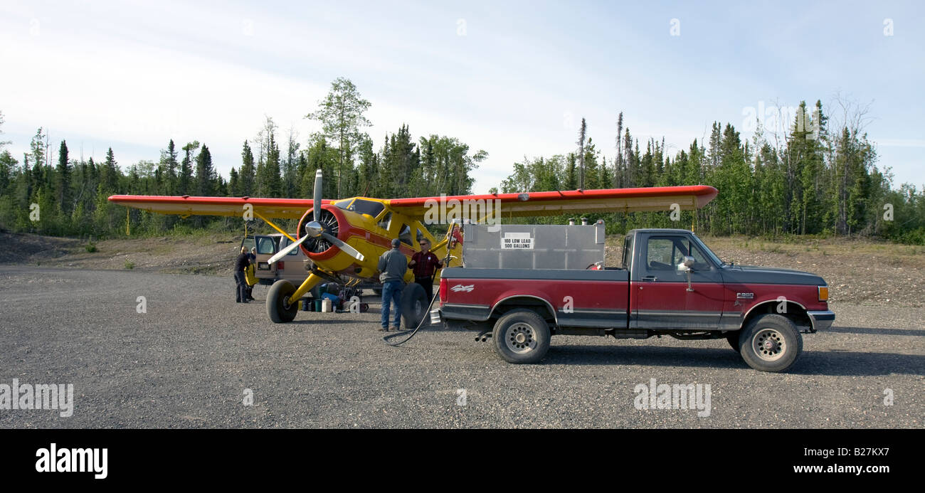 Servicing/Fueling airplane, McCarty Airstrip, Wrangell Mountain Air, McCarthy, Alaska, USA - Stock Image
