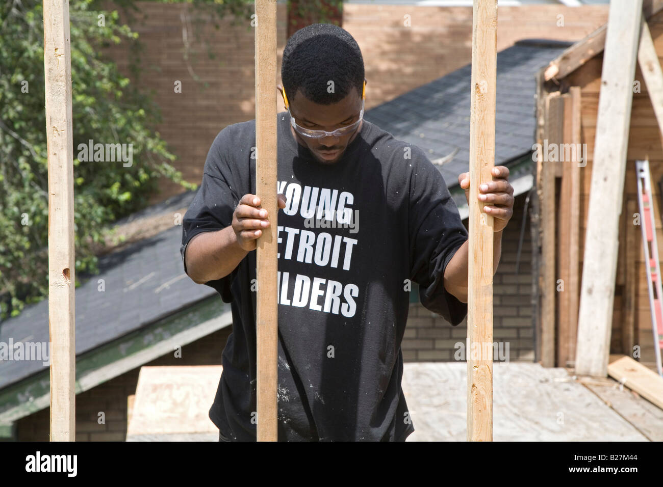 High School Dropouts Learn Construction Skills Stock Photo