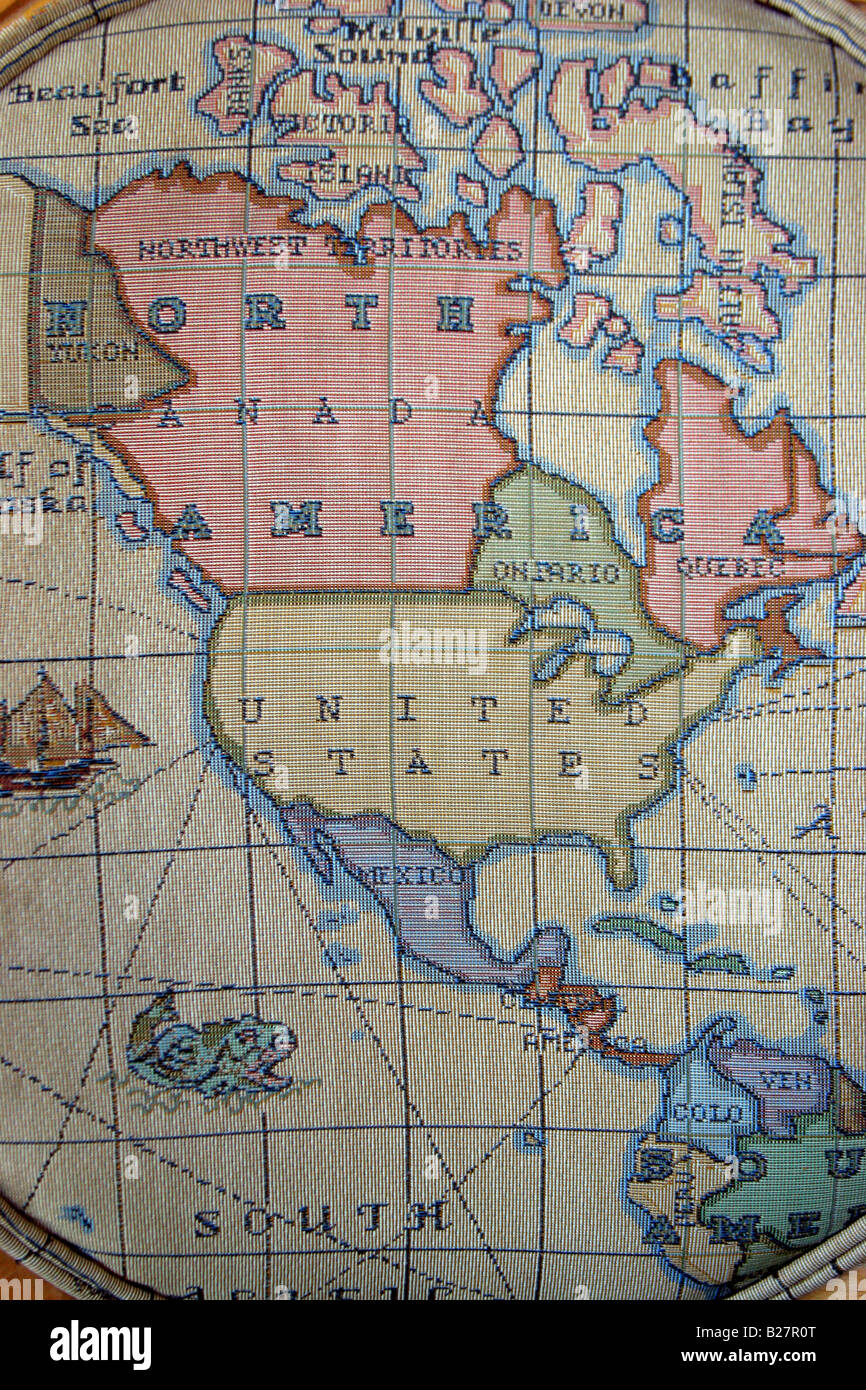North America map woven and printed on a fabric. - Stock Image