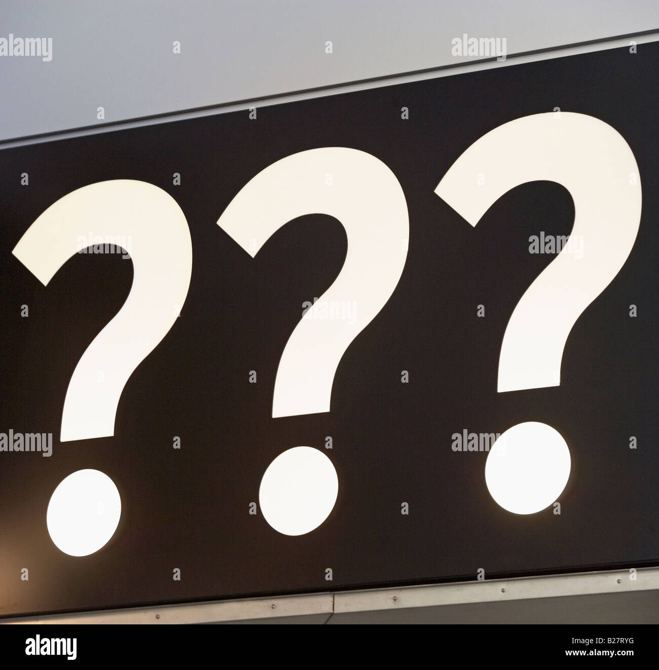 Question marks on sign Stock Photo