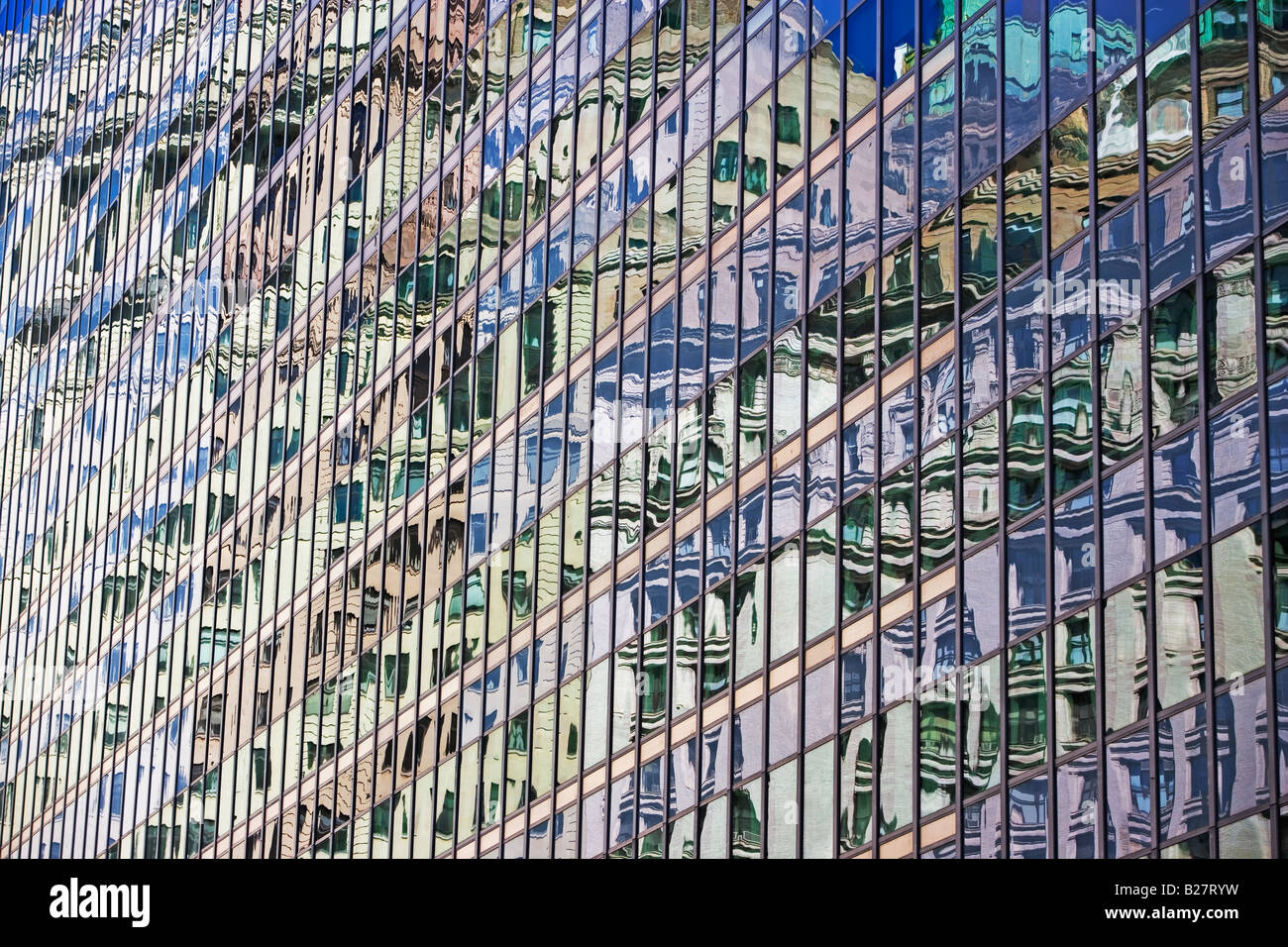 Low angle view of high rises, New York City, New York, United States - Stock Image