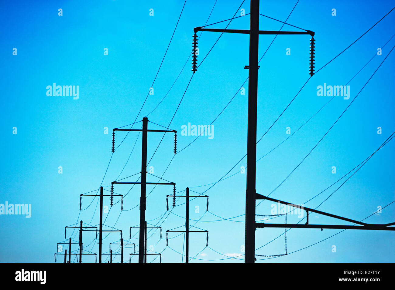Low angle view of utility poles - Stock Image
