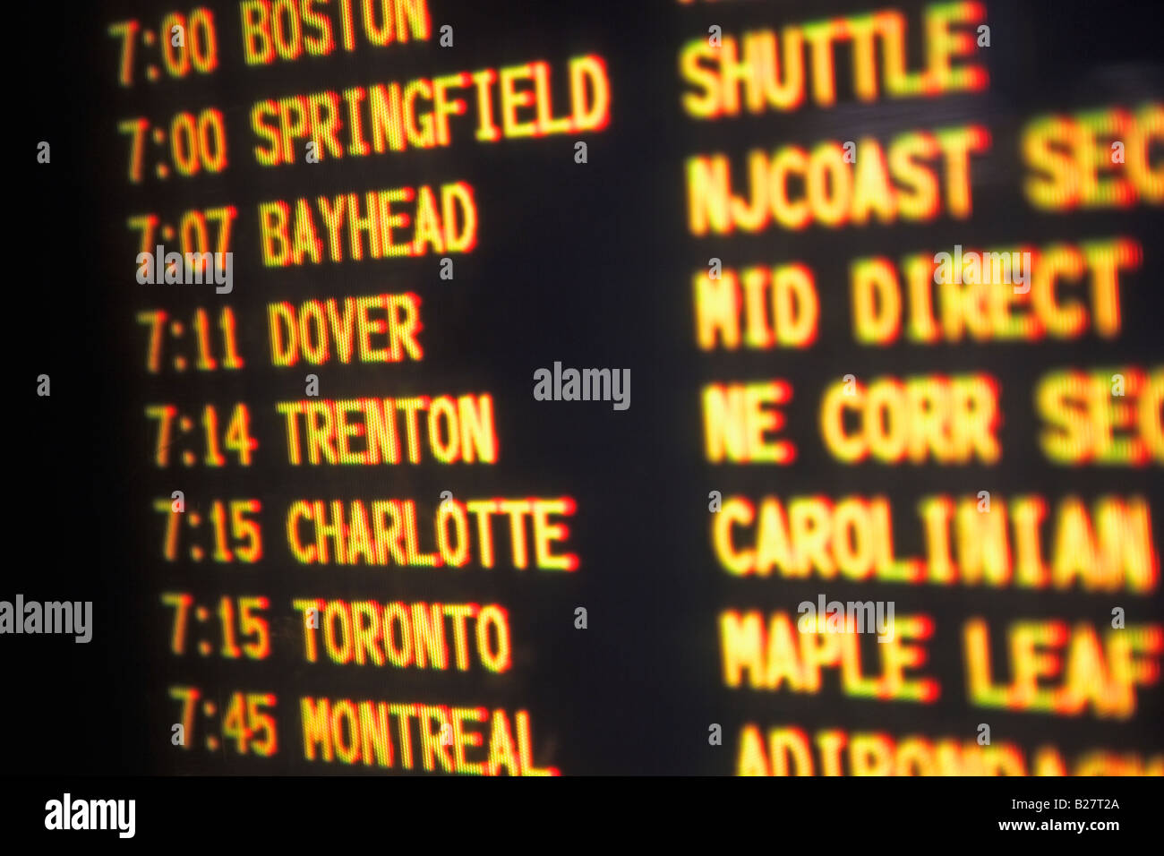 Close up of transportation time table, New York, United States Stock Photo
