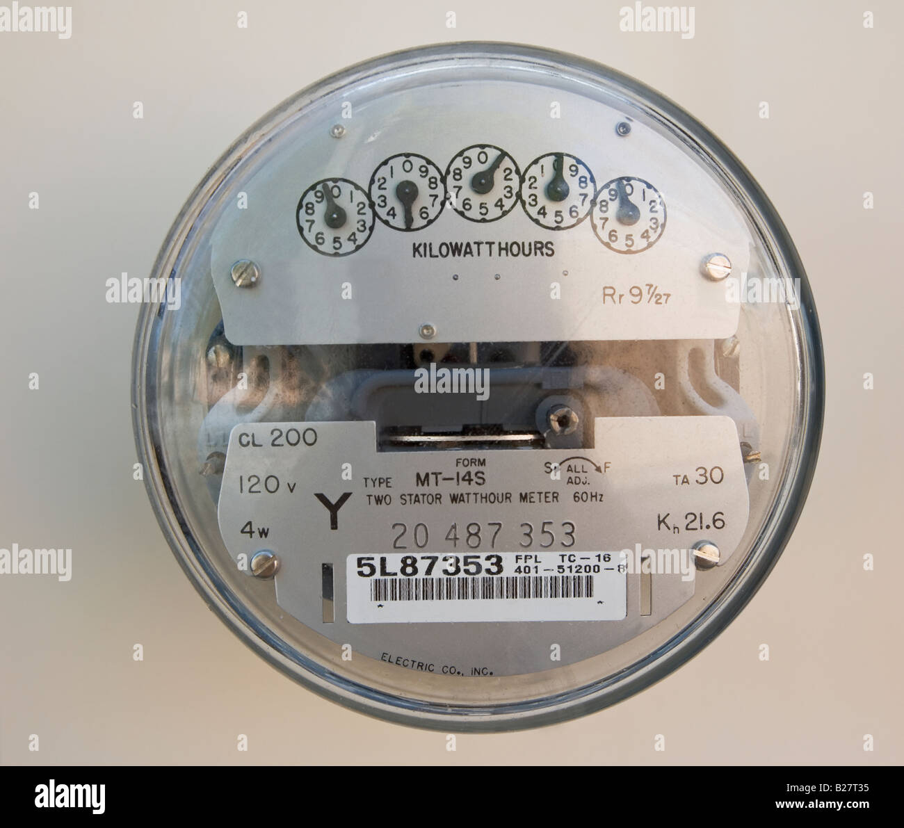 Close up of electric meter - Stock Image