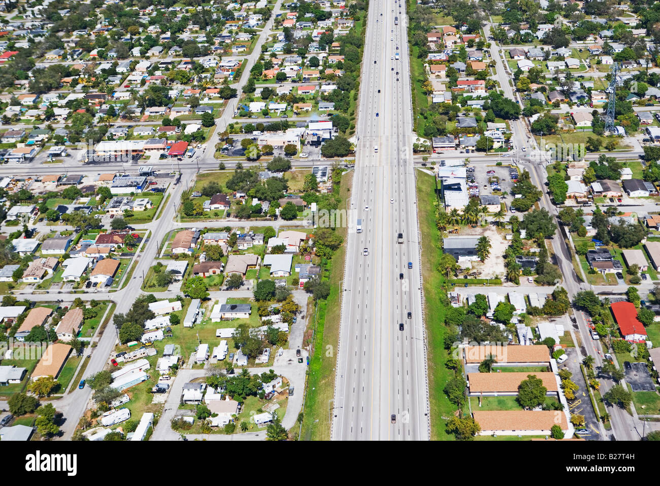 Aerial view of highway through residential area, Florida, United States - Stock Image