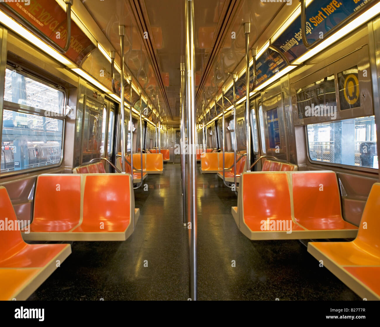Interior Of Subway Train, New York City, New York, United