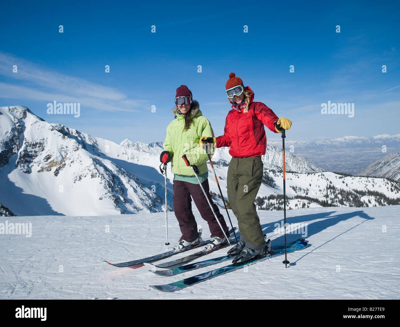 Women standing on skis, Wasatch Mountains, Utah, United States - Stock Image