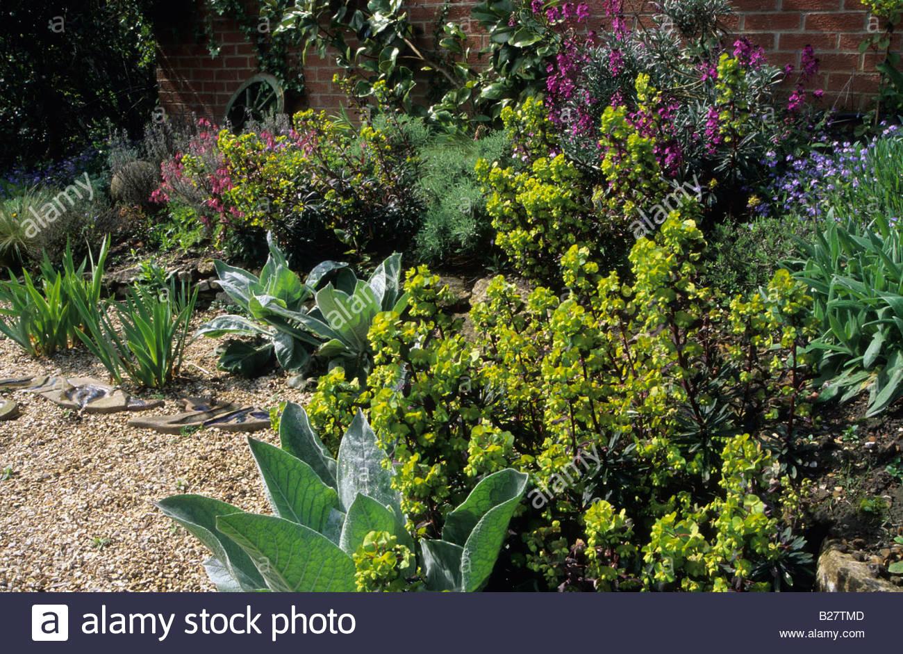 May Dry garden Thursley Lodge; Surrey. Design: Fiona Lawrenson. Dry Stone Raised Garden Beds Designs Sloped on sloped vegetable garden, sloped raised flower beds, tiered garden beds, sloped landscape design, sloped garden design ideas,