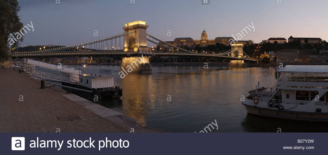 Famous Chain Bridge over Danube river in Budapest, Hungary (built 1839-49), designed by British engineer William - Stock Image