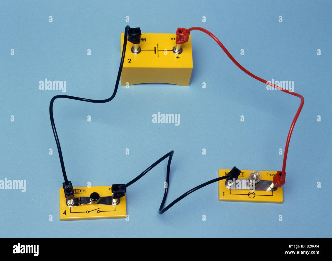 a circuit containing a cell a switch and a lamp - Stock Image