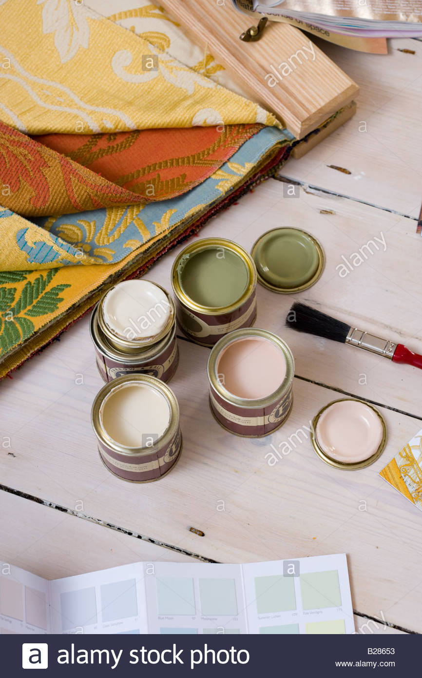 Colour swatches, fabric and paint samples - Stock Image