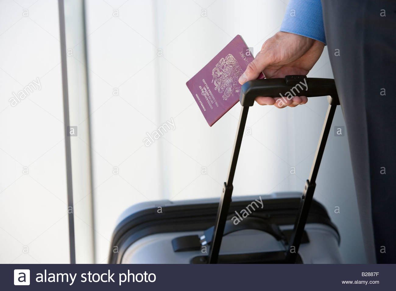 Businessman with luggage and passport - Stock Image