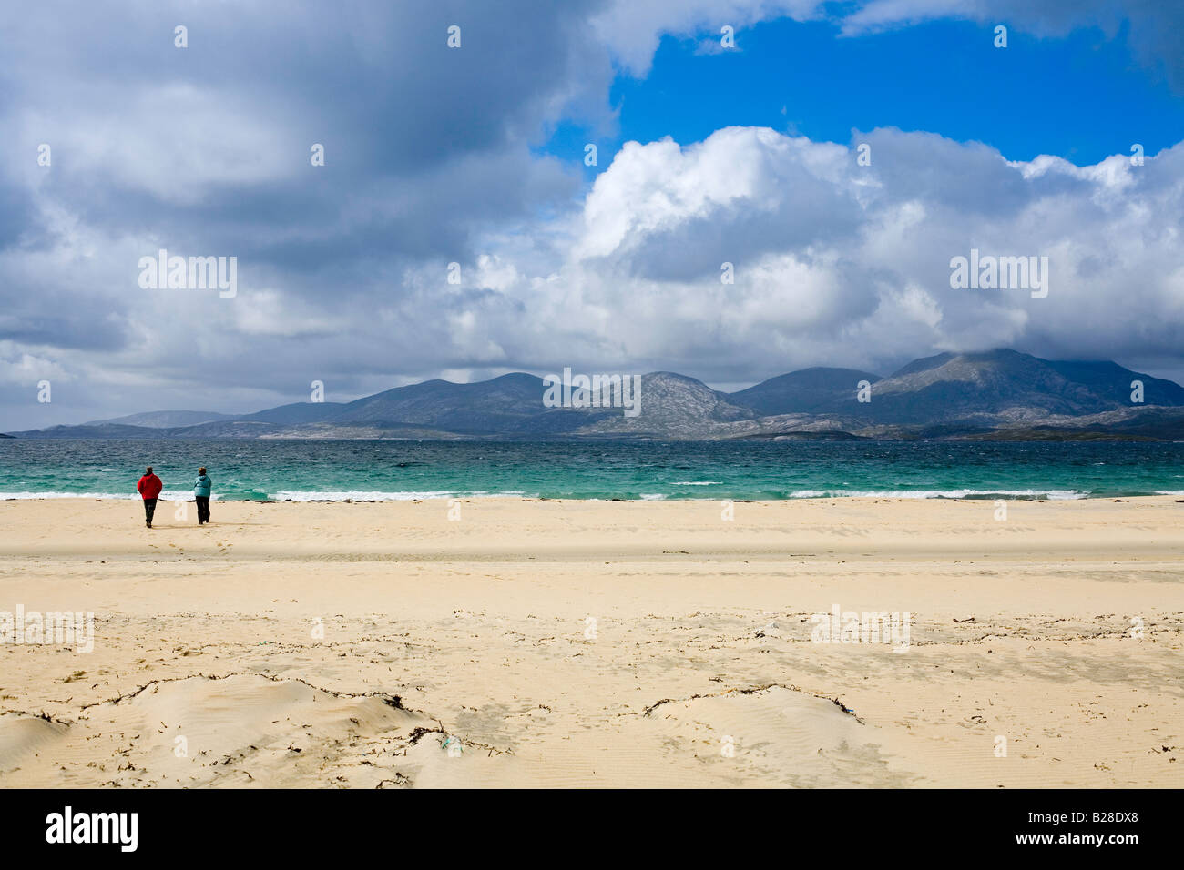 Luskentyre beach, view over the Sound of Taransay, Isle of Harris - Stock Image