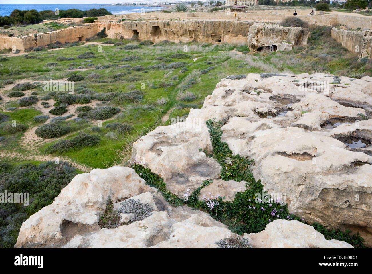 Some of the many rock cut tombs in the UNESCO World Heritage site The Tombs of the Kings, Pafos, Cyprus Stock Photo
