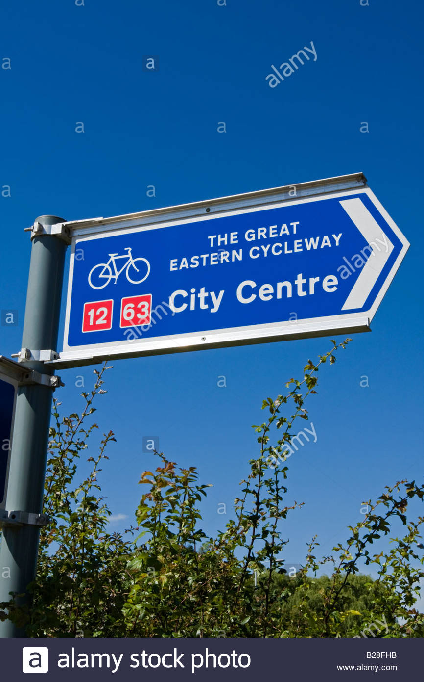 Signpost for the Great Eastern Cycleway - Stock Image