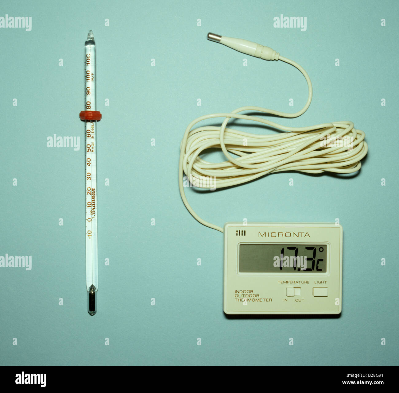 a digital thermometer beside a mercury in glass thermometer stock Electric Mixing Valve a digital thermometer beside a mercury in glass thermometer