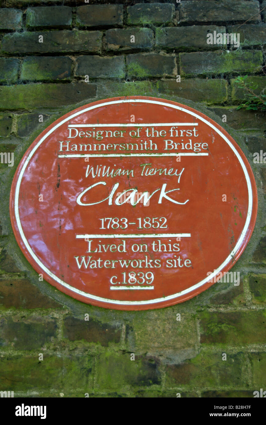 plaque marking where the designer, william tierney clark, of the first hammersmith bridge stayed around 1839, in - Stock Image