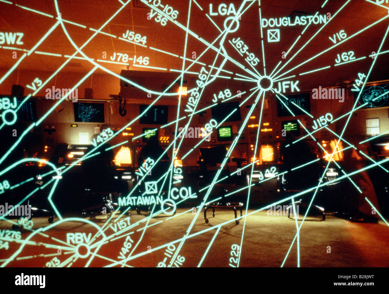 Multiple exposure of the TRACON Air traffic control center, Long Island, New York - Stock Image