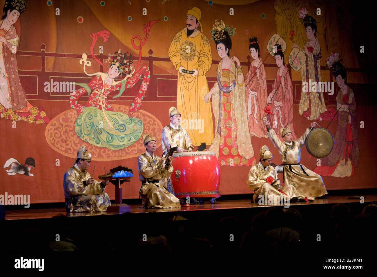 Musicians performing in the Tang Dance Show Shaanxi Grand Opera House Xian China - Stock Image