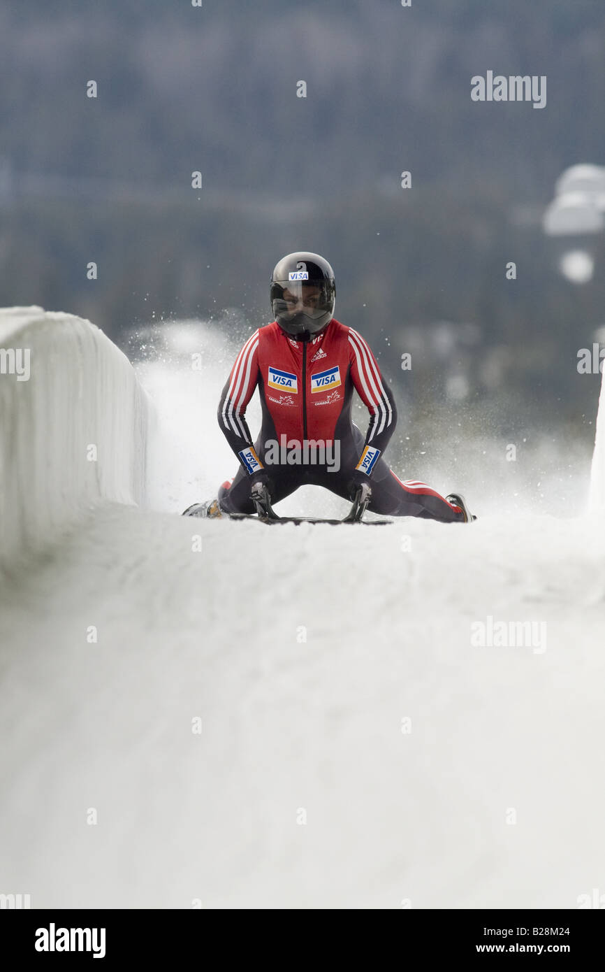 Skeleton racing at the Whistler Sleding Centre British Columbia Canada Stock Photo