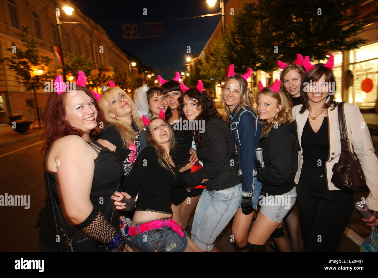 LTU Lithuania Capital Vilnius Bachelor Party of young women - Stock Image